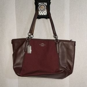 COACH leather & fabric shoulder purse